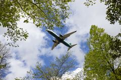 Airplane landing Royalty Free Stock Photo