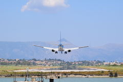 Airplane landing. A plane coming into land Stock Photography