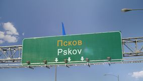 Airplane Landing Pskov. Airplane flying over airport signboard stock video
