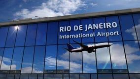 Airplane landing at Rio de Janeiro mirrored in terminal