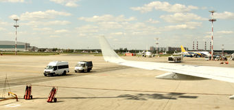 Airplane in landing runway road. View from inside Royalty Free Stock Images