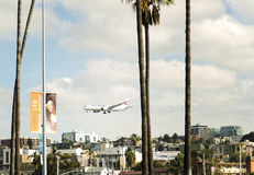 Airplane Landing, San Diego California Stock Photo