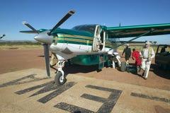 Airplane on landing strip in Lewa Conservancy in Kenya, Africa Royalty Free Stock Images