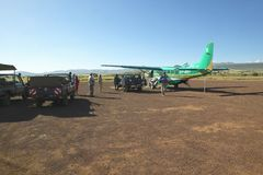Airplane on landing strip in Lewa Conservancy in Kenya, Africa Stock Image
