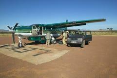 Airplane on landing strip in Lewa Conservancy in Kenya, Africa Royalty Free Stock Photo
