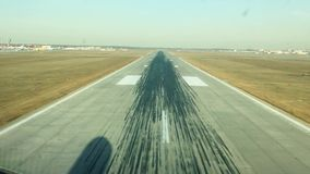 Airplane landing in summer day.Camera on airplane stock footage
