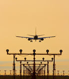 Airplane landing in sunset Stock Photography