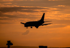 Airplane landing at sunset Stock Images