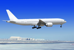 Airplane is landing to runway Royalty Free Stock Photography