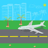 Airplane, landing, vector, illustration Royalty Free Stock Image