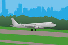 Airplane landing vector illustration Royalty Free Stock Photography