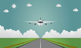Airplane lands on airport on runway a plane landing or taking off. illustration. Airplane lands on airport on runway a plane landing or taking off Royalty Free Stock Photos
