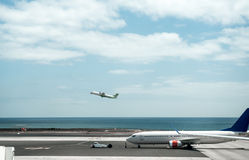 Airplane in Lanzarote airport field Royalty Free Stock Images