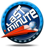 Airplane last minute. Icon round with written last minute, red flight, globe and stylized clock Royalty Free Stock Photos
