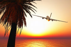 Airplane leaving tropical paradise 3D render Royalty Free Stock Photos