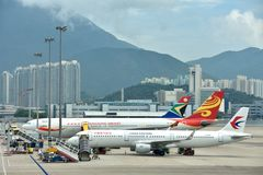 Airplane in line, Hongkong Airport Stock Photography