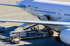 A airplane Loading on cargo. Stock Images