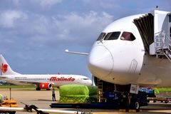 Airplane loading cargoes in VietNam Saigon Airport. A Malindo Airlines plane is loading cargoes in VietNam airport, shown as industrial of transportation and Stock Photos