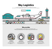 Airplane logistics flat line web graphics Stock Image
