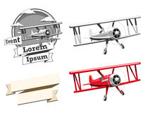 Airplane logo vector illustration and ribbon Royalty Free Stock Photos