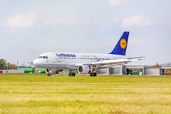 Airplane of Lufthansa after landing, airport Stuttgart, Germany Royalty Free Stock Photography