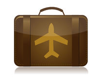 Airplane luggage brown illustration Stock Photos