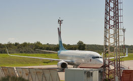 Airplane Luxair in Zracna Luka Airport. Pula, Croatia. Stock Image