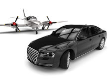 Airplane with a Luxury Car Stock Photo