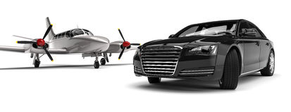 Airplane with a Luxury Car Stock Image