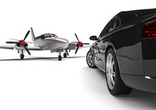 Airplane with a Luxury Car Stock Photography