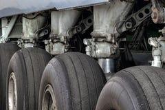 Airplane main landing gear tires stock image