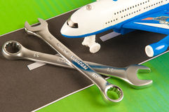 Airplane maintenance concept. Picture with tools Royalty Free Stock Image