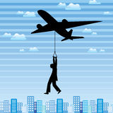 Airplane and man in the city Stock Images