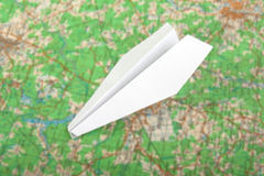 Airplane on map royalty free stock photography