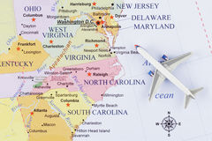 Airplane on map.  stock image