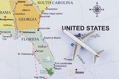 Airplane on map.  royalty free stock photos