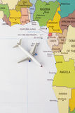 Airplane on map. Airplane on the Africa map Stock Photo
