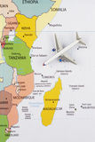 Airplane on map. Airplane on the Africa map Stock Photos