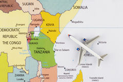 Airplane on map. Airplane on the Africa map stock photography