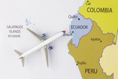 Airplane on map. Airplane on the America map Stock Photo