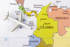 Airplane on map. Airplane on the America map royalty free stock image