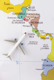 Airplane on map. Airplane on the America map royalty free stock photos