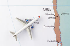 Airplane on map. Airplane on the Latin America map Royalty Free Stock Photography