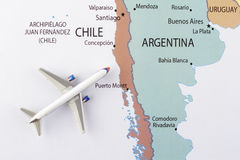Airplane on map. Airplane on th Latin America map Royalty Free Stock Photo