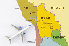Airplane on map. Airplane on th Latin America map royalty free stock images