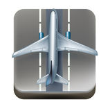 Airplane on marked landing lane icon isolated Stock Photos