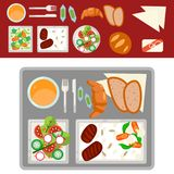 Airplane meal on tray vector illustration. stock illustration