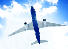 Airplane in Mid Air. 3D generated airplane in mid air royalty free stock photos