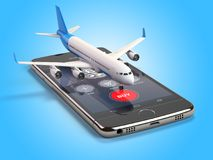 Airplane on the mobile phone. Internet online searching and buyi. Ng airplane boarding pass tickets by smartphone. 3d illustration Stock Images