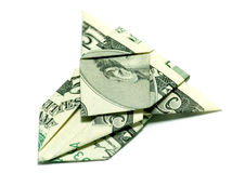 Airplane of money. An airplane made out of a five dollar bill Royalty Free Stock Photos